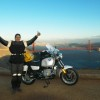 Arrival at the Golden Gate Bridge in September 2004 after riding 5200 miles from New York to California.