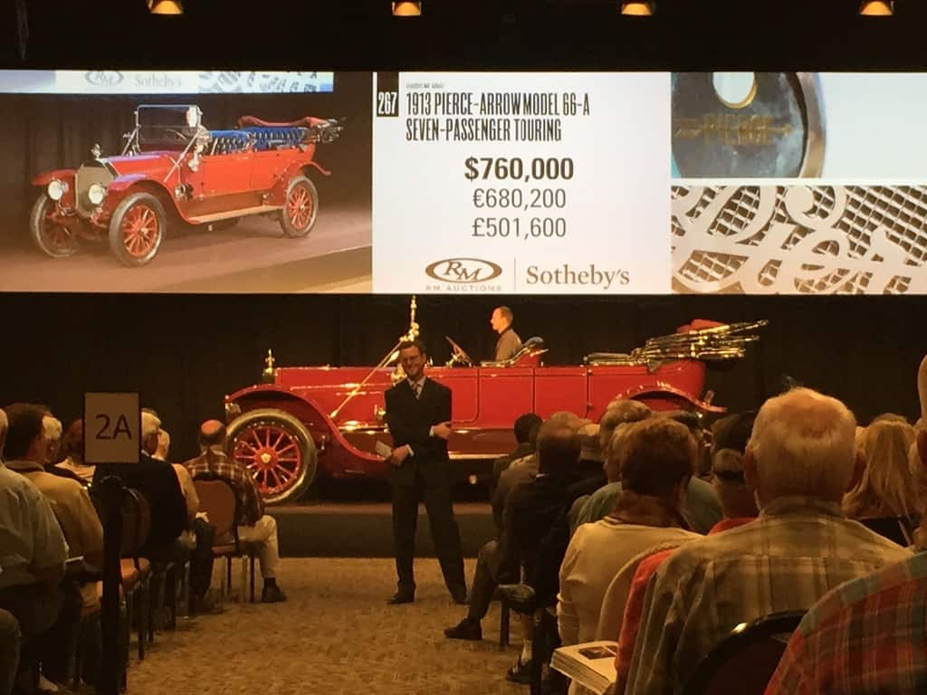 The 1913 Pierce Arrow stole the show with a hammer price of over $750,000. It was originally commissioned by a fire department.