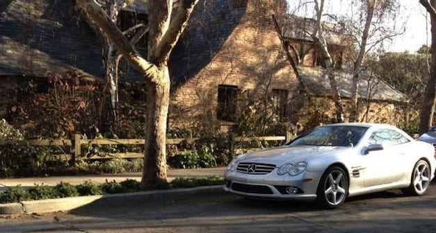 Steve's SL 55 in front of his humble home in Palo Alto.