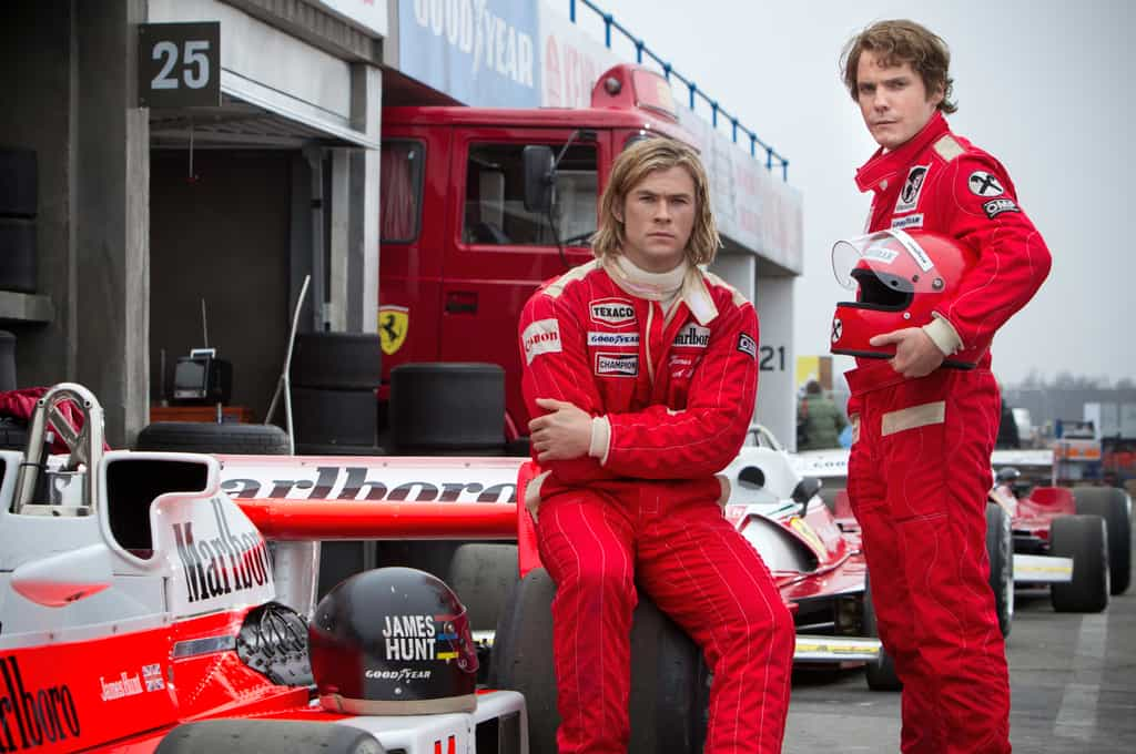 Chris Hemsworth (left) plays a daredevil Hunt and Daniel Brühl (right) plays a more serious Lauda.