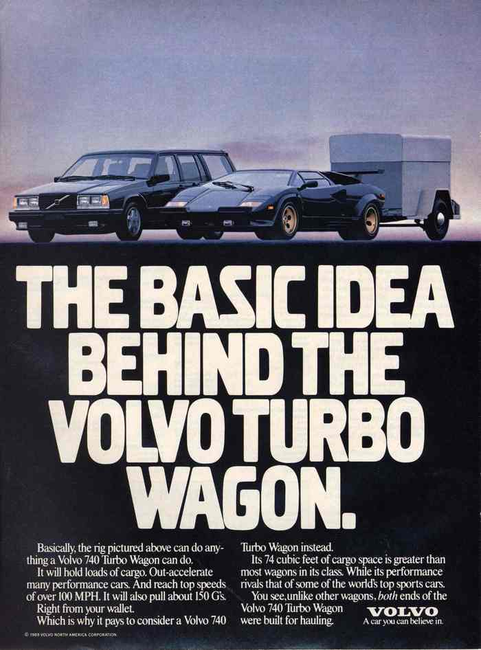 A 1988 advertisement for the Volvo Turbo Wagon