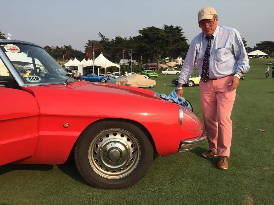 Keith prepping his Alfa for the big 50th anniversary judging tomorrow.